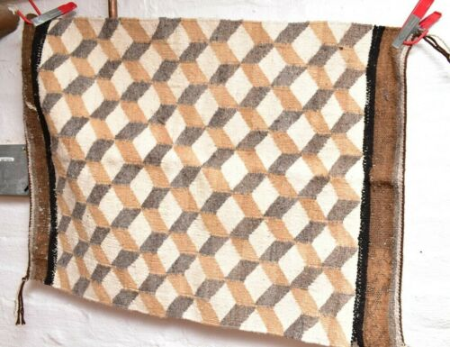 ANTIQUE Navajo Rug native american indian weaving Textile VTG 28x21 Geometrical