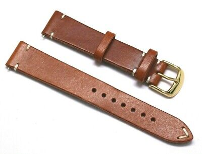 18mm Brown/White Genuine Leather Classic Style Watch Strap Handmade Gold Buckle Brown White Leather