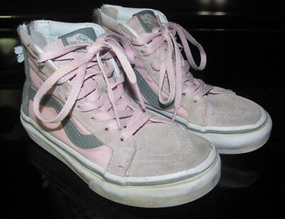 29889095ed6a Vans of The Wall Girls Pink Gray High Top Sneakers Shoes Zipper Back Size  11 NWT