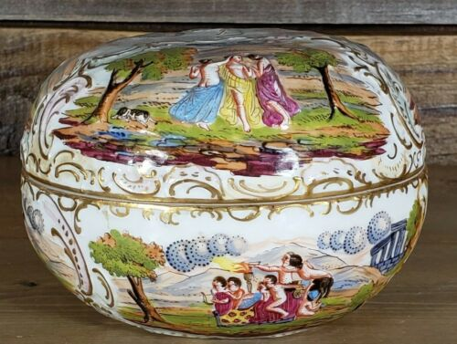 Potschappel Capidomonte Porcelain Trinket Box Afterlife Marked Crown Over N