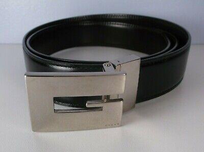 """Vintage 1970-80's GUCCI Black Men's Leather Belt 34.5-36.5"""" Waist VG Condition"""