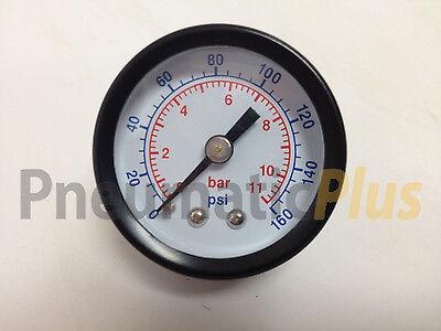 Air Pressure Gauge Dry 1-12 Dial Center Back Mount 0-160 Psi 18 Npt