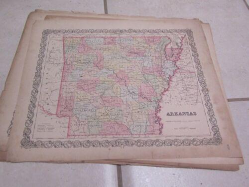 1855 Colton Arkansas Antique Color Map + Information Page 15x18 US History