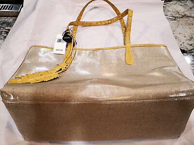 848863065886y NANCY GONZALEZ/GZUNGA LTD Crocodile/Leather/LINEN TOTE Yellow $950