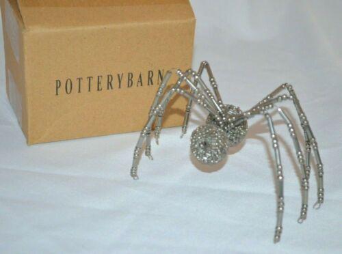 Pottery Barn Small Beaded Silver Spider Halloween Decor Decoration RARE!