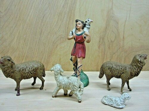 Nativity Shepherd Holding Lamb marked Italy With flock of 4 assorted Sheep