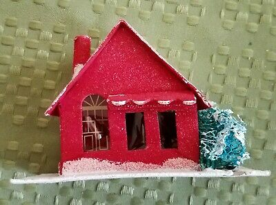 Vintage Paper Christmas Village House Cardboard Putz Made in Japan