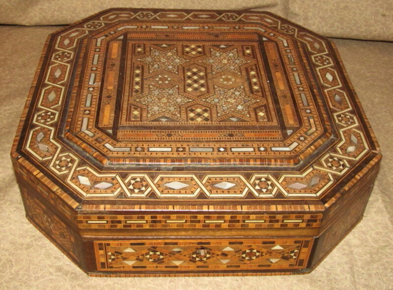 Very Nice Antique Middle Eastern Inlaid Box Asian Oriental