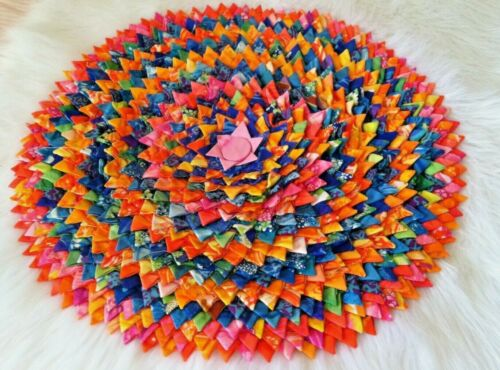 Vintage Colorful Quilted Round Handmade Center Piece/Table Topper/ Wall Art