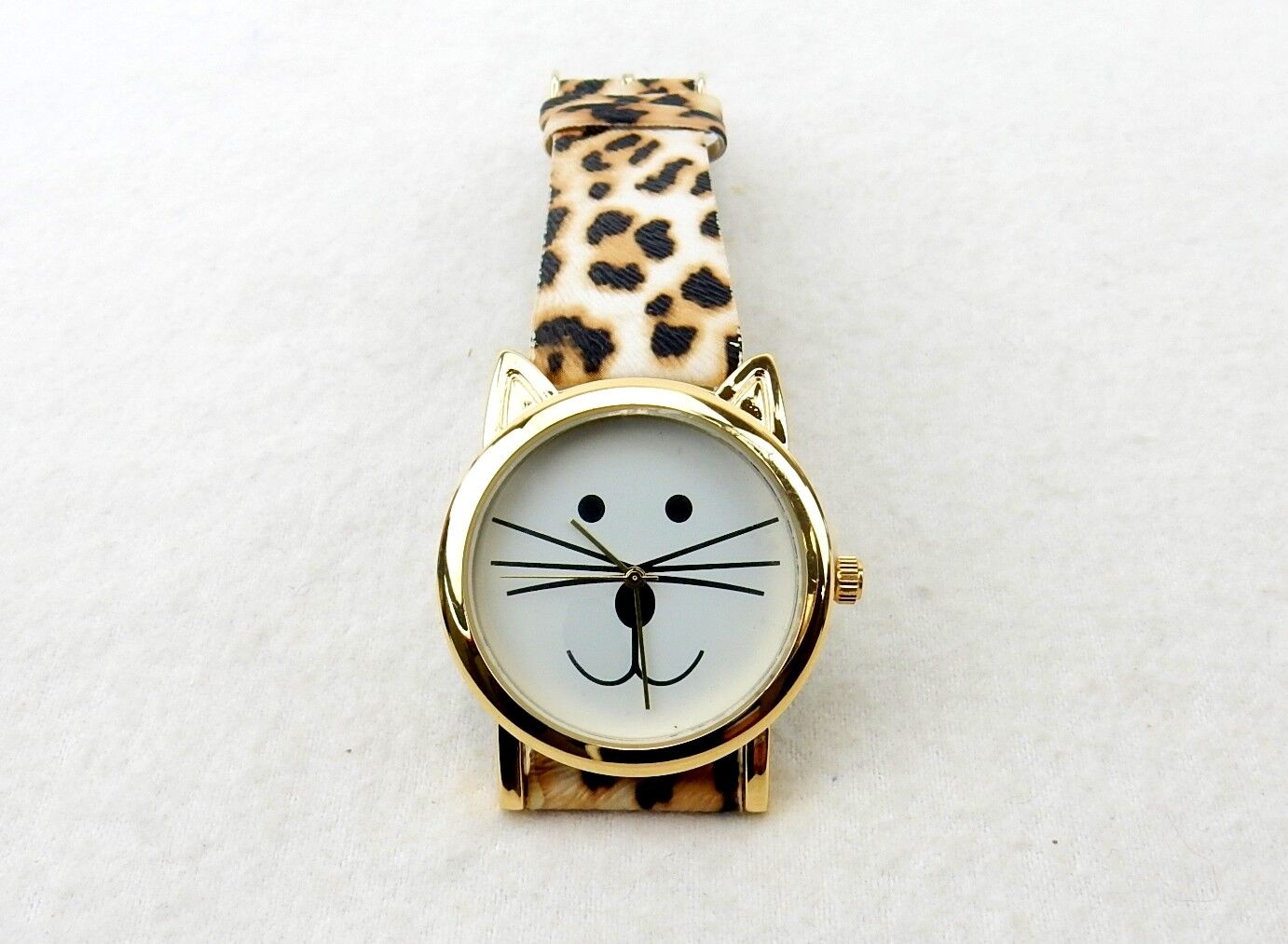 Cat Face Wrist Watch, Gold Tone Case, Faux Leather Animal Print Band, #L8100