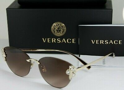 NEW AUTHENTIC VERSACE VE 2196B 125213 Gold Rimless Cat Eye Sunglasses NIB NWT