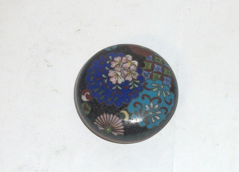 RARE OLD JAPANESE CLOISONNE ENAMEL TRINKET JAR BOX