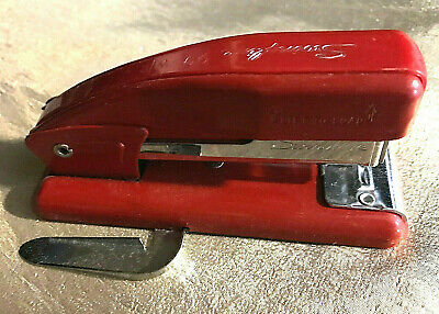 Vintage Swingline 99 Wr Small Stapler Red Metal With Side Staple Remover 4 34
