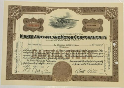 Kinner Airplane and Motor Corporation Stock Certificate  1936  20 Shares
