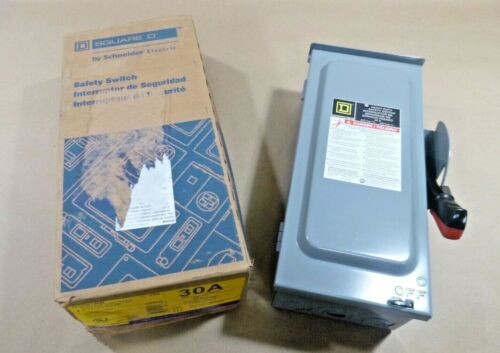 NEW SQUARE D HEAVY DUTY HU361RB SAFETY SWITCH 3P 30 AMP 600V NEMA 3R - U.S.A.