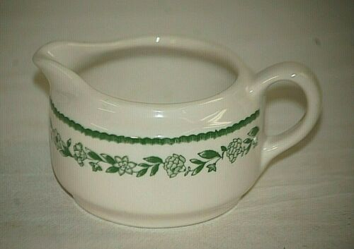 Kenmore by Buffalo China Milk Creamer Restaurant Ware Green Floral Garland USA