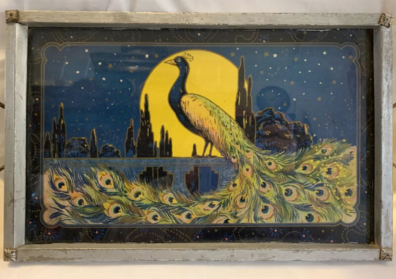 1920's (?) Peacock Art Nouveau Glass And Metal Serving Tray Collectible