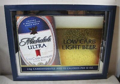 Vintage 2002 Michelob Ultra Low Carb Light Beer Mirror Sign Bar Pub