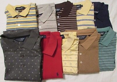 Lot 10 Ralph Lauren Golf Polo Shirts Men's L MulitColor 100% Cotton Short Sleeve
