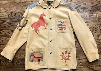 Polo Ralph Lauren Snowbeach Indian P Wing 1992 Rare Indian Leather Jacket  Sz S