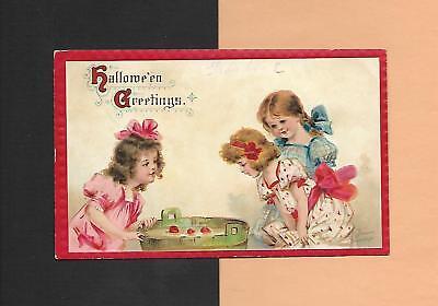 CHILDREN BOB FOR APPLES On Colorful A/S BRUNDAGE Vintage 1913 HALLOWEEN - Bob For Apples