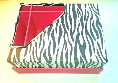 Desk Top Desk Organizer 3 Pc. Set Zebra Striped Hot Pink-teen-preowned
