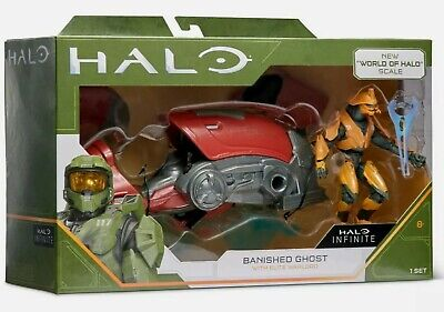 NEW WORLD OF HALO INFINITE BANISHED GHOST WITH ELITE WARLORD VEHICLE FIGURE