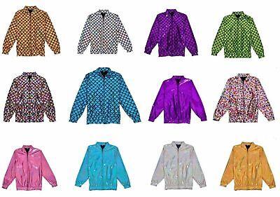 Womens Mens Foil Bomber Jacket Glitter Festival Costume Metalic jackets (Bomber Jacket Costume)