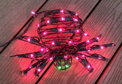 HALLOWEEN BLACK METAL SPIDER Lights Up Indoor/Outdoor