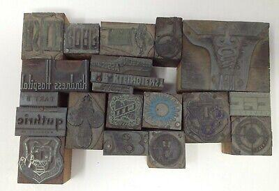 20 Lot Letterpress Printing Printer Block Press Stamp Vintage Wood Metal