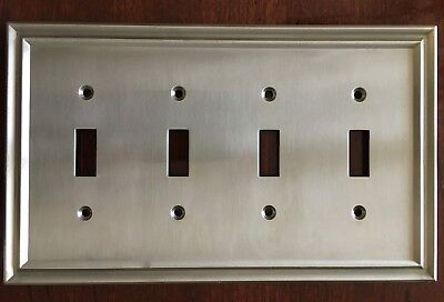 BRAINERD TRADITIONAL QUAD TOGGLE SWITCH PLATE NICKEL W36563-SNE-C FREE SHIP