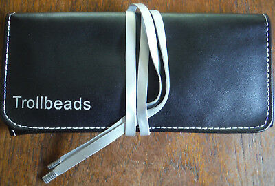 Trollbeads Carrying Pouch Fold Up Travel Case Black Faux Leather, Silver Ties