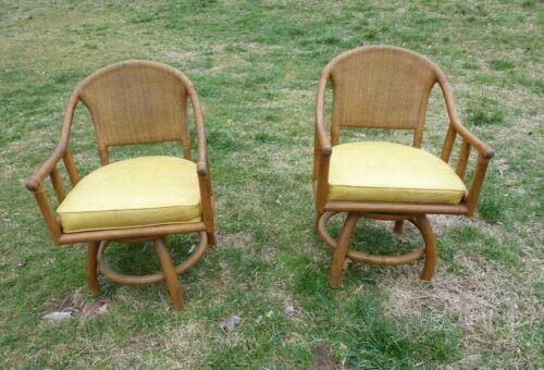 Vtg pair mid century rattan bamboo wicker chairs mid century swivel