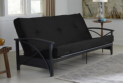 "6"" Full Size Bed Couch Tuft Black Soft Sleeper Futon Sofa Mattress ONLY NO FRAME"