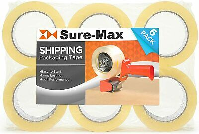 3 Rolls Sure-max Clear Box Sealing Pack Tape Ship - 2 Mil 2 X 55 Yards 165 Ft.