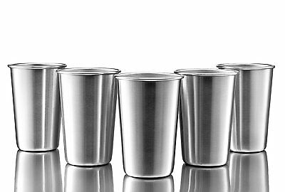 Stainless Steel Pint Cups, Set of 5, 16 oz