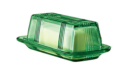 Depression Style Glass Butter Dish, Classic Green, Green  Depression Glass Butter Dish