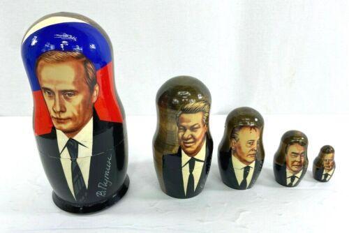Russian Political Leaders Wood Nesting Dolls