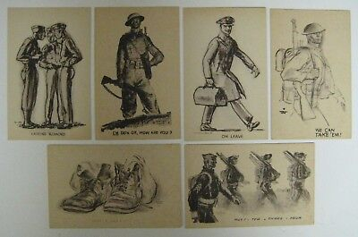 Vtg Lot Marshall Davis WWII MILITARY ARMY Pencil Sketch Postcards Soldier Comics