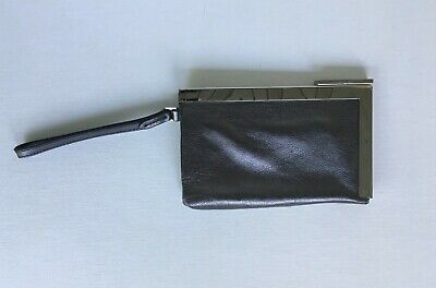 Calvin Klein Metallic Leather Framed Wristlet with Mirror Pewter