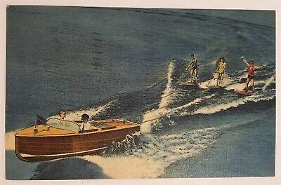 Water Skiing Ocean City NJ Postcard Wooden Boat