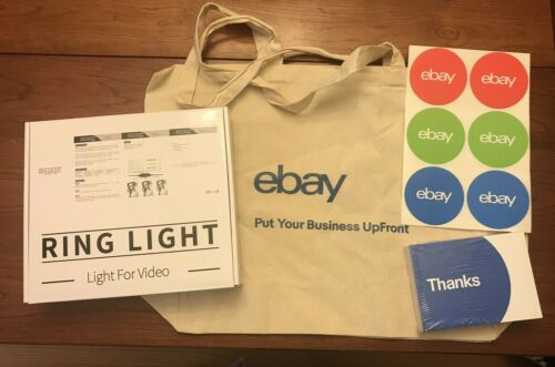 NEW eBay Swag Merch - Ring Light with Tripod & Remote, Tote, Postcards, Stickers
