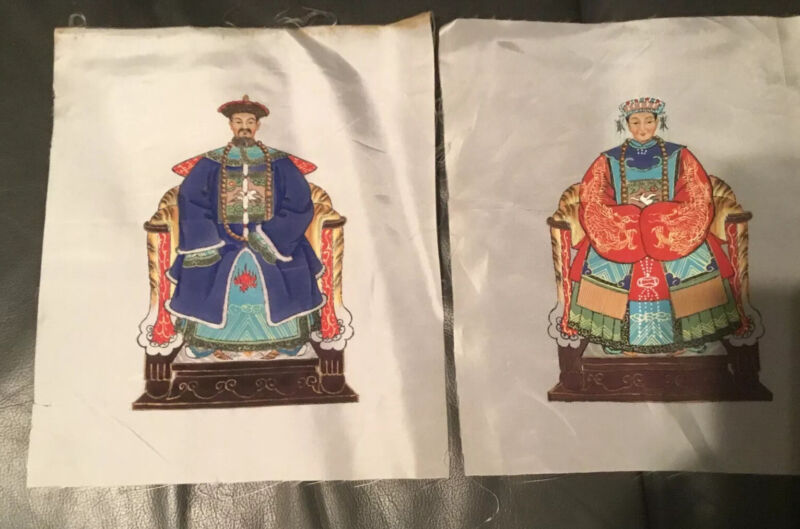 Pair of Antique Chinese Ancestor Portrait Painting on Silk..Hand Painted.