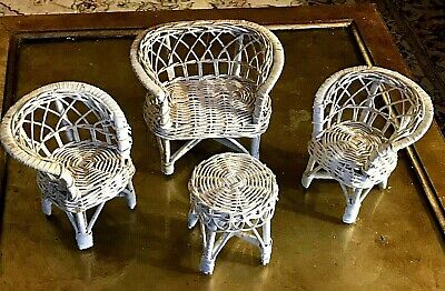 VINTAGE BARBIE DOLL WICKER DOLL FURNITURE SET WHITE