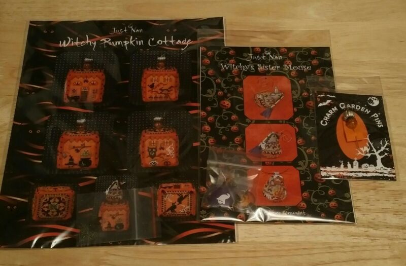 JUST NAN WITCHY PUMPKIN COTTAGE, MOUSE & PUMPKIN STACK PIN CROSS STITCH LOT