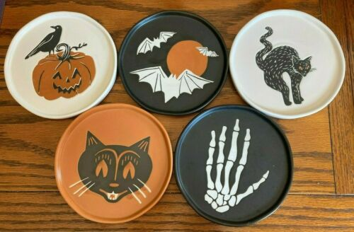 """6"""" STONEWARE HALLOWEEN APPETIZER PLATE SET OF 5 BY THRESHOLD"""
