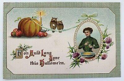 Halloween Postcards Antique (Antique Halloween Postcard Woman Cooking Owls Germany Gottschalk Series)