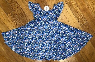 NWT Dot Dot Smile Twirly Summer dress Girls Empire Blue purple geometric   - Blue Girls Dress