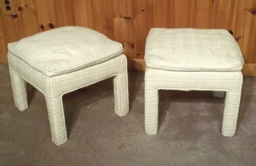 PAIR OF MID CENTURY MODERN MILO BAUGHMAN STYLE SQUARE LEG UPHOLSTERED STOOLS