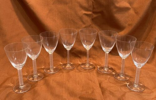 "Set of Eight (8) Lalique France Phalsbourg Wine Stemware Glasses 6 7/8"" Tall"